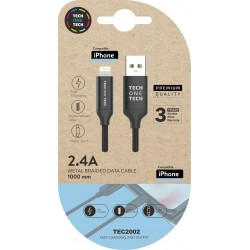 Cable negro Braided Nylon Micro USB (Android), alto rendimiento 1M 2A