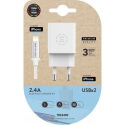 Cargador doble blanco + Cable braided Nylon (Apple), alto rendimiento 2,4A